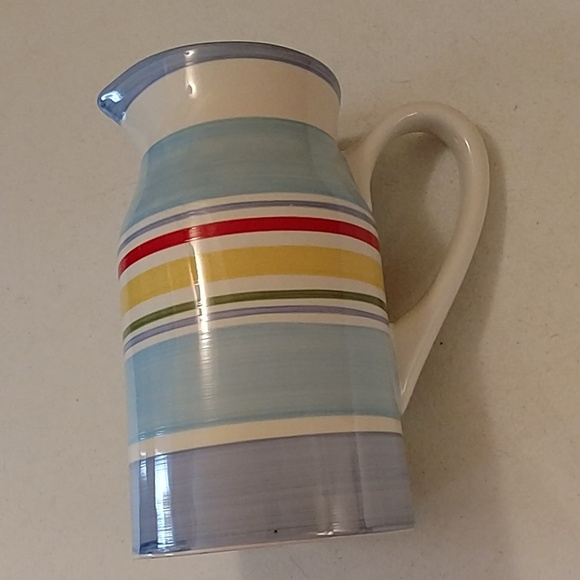 Lands End tall striped pitcher